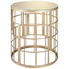 Side Table in Stainless Steel with Liquid Metal Champagne or Bronze Finish