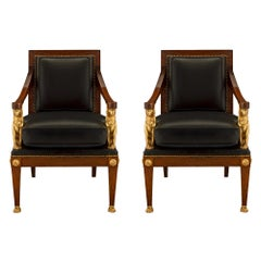 Pair of French 19th Century First Empire Period Walnut Armchairs, circa 1805