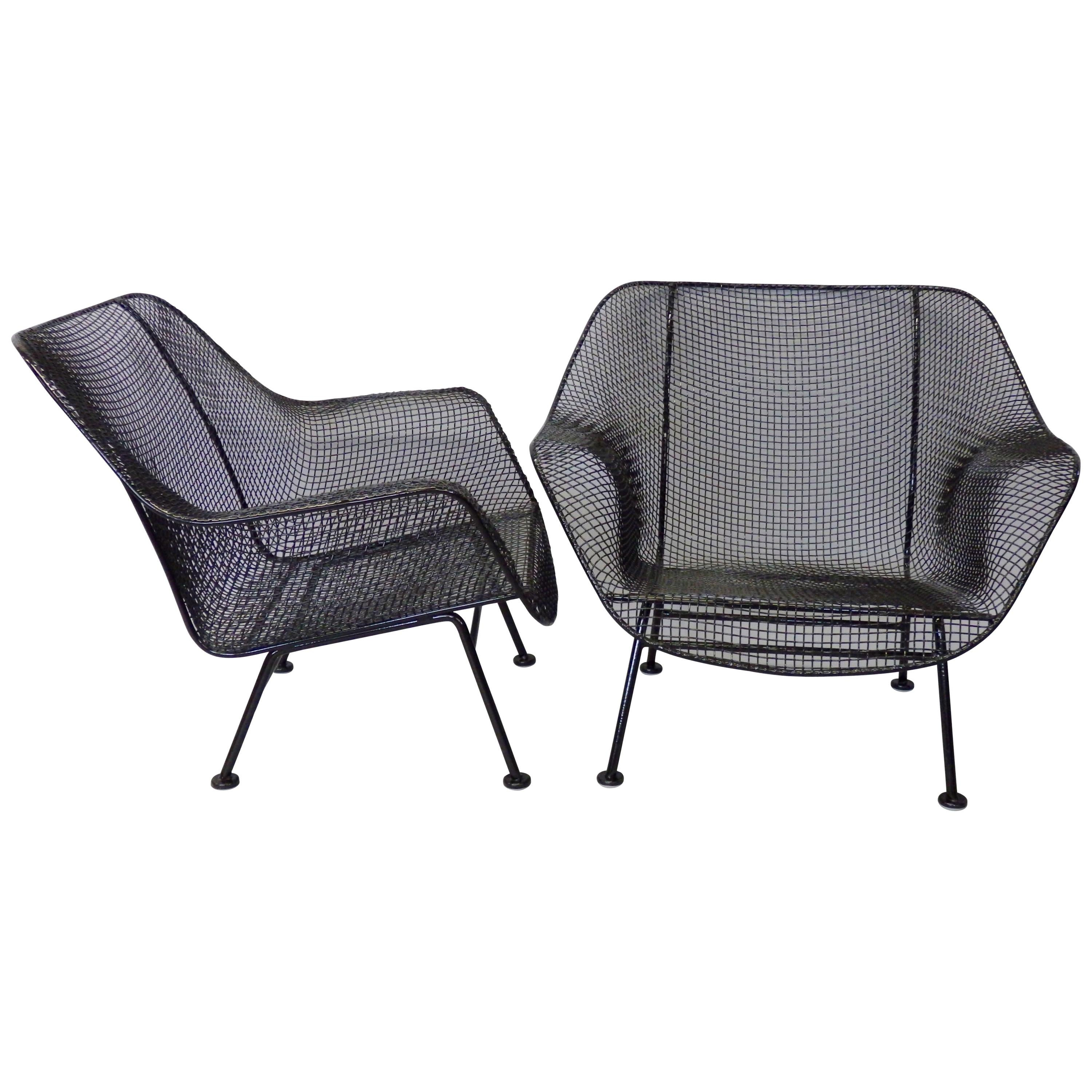 Nicely Restored John Woodard Wrought Iron with Steel Mesh Lounge Chairs