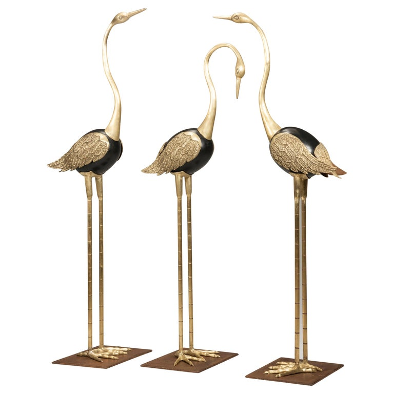 Art Deco Golden Brass and Black Metal Flamingos, Italy, 1940s For Sale