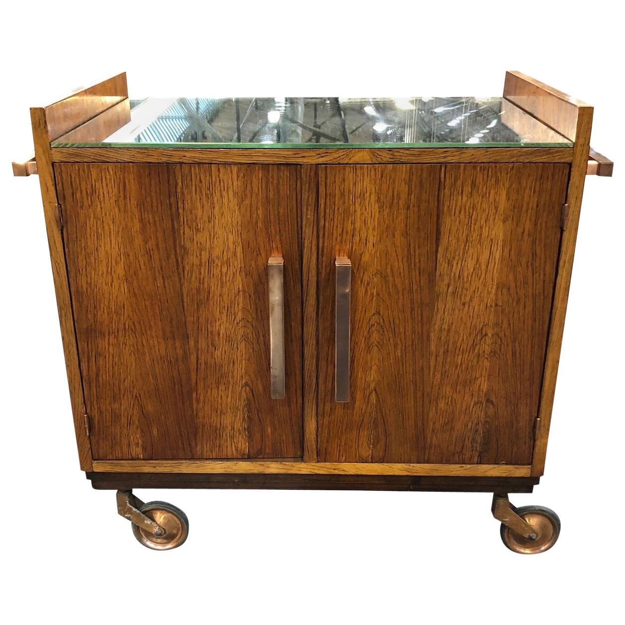 Art Deco Bar Trolley in Style of Jacques Adnet with Original Mirror France 1930s