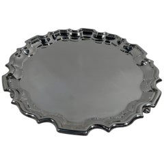 Antique English Sterling Silver Salver Tray with Georgian Piecrust Rim