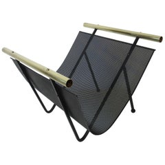 Perforated Metal and Brass Magazine Rack
