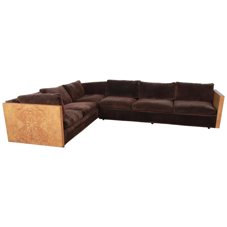 Milo Baughman for Thayer Coggin Burl Wood Case Sectional Sofa, 1970s For Sale