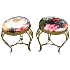 Pair of Italian Vintage Brass Round Benches with Floreal Velvet, 1950s