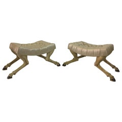 Venetian Painted Fruitwood Horse Leg Tufted Bench, Pair