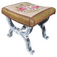 19th Century Italian Lacquered Wooden Stool with Hand Embroidered Seat, 1890s