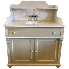 19th Century French Lacquered Cupboard Sink with Carrara Marble Top, 1890s
