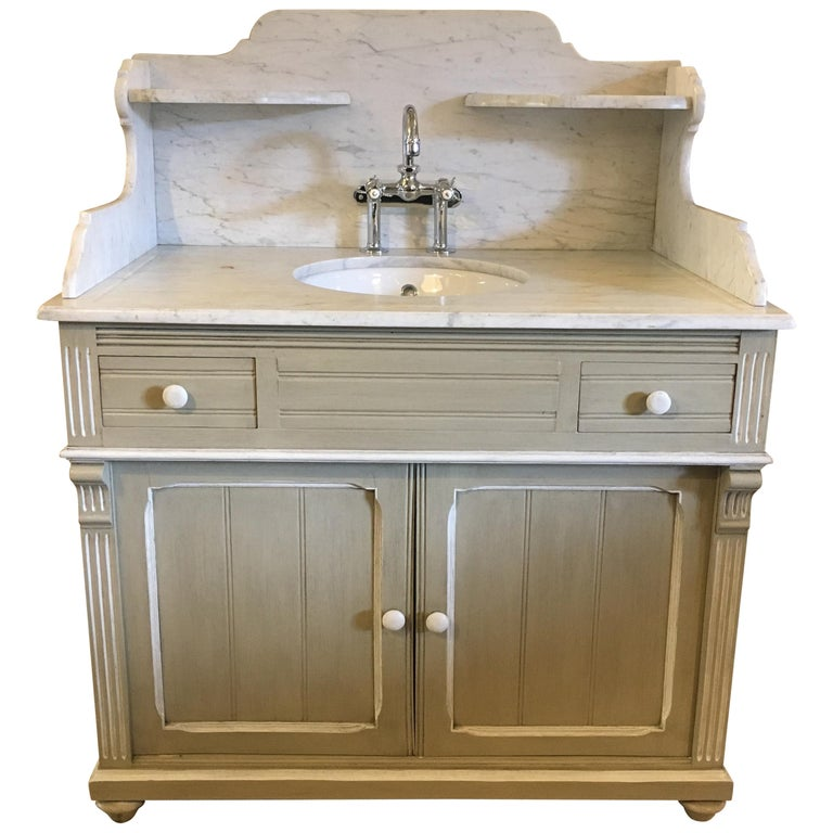 19th Century French Lacquered Cupboard Sink with Carrara Marble Top, 1890s For Sale