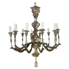 19th Century Italian Giltwood and Painted Chandelier