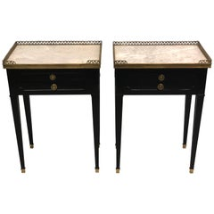 Pair of French Modern Neoclassical Ebonized Mahogany Nightstands, Maison Jansen