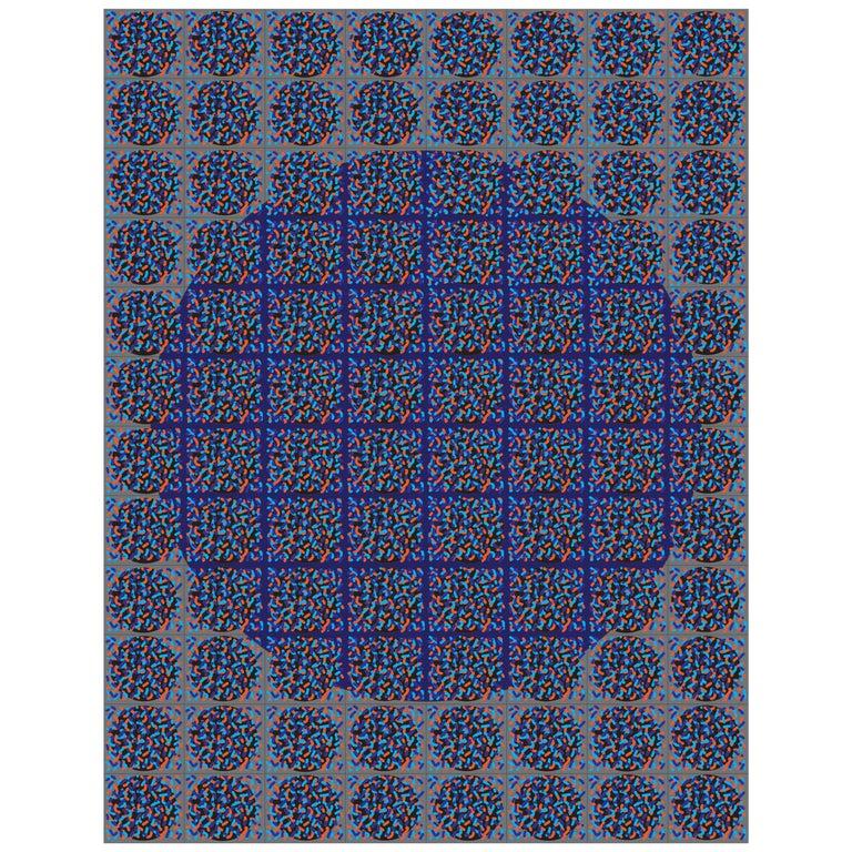 "Michael Zenreich Conceptual Abstract Digital Print ""Confetti Blue Circle' For Sale"
