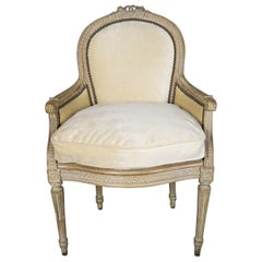 French Louis XVI Style Velvet Vanity Chair, circa 1930