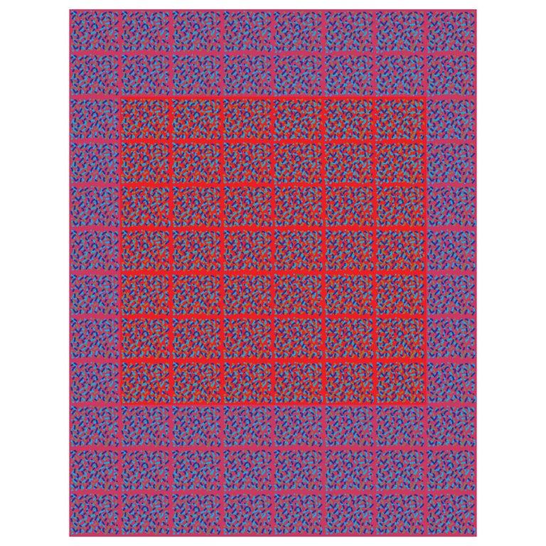 """Michael Zenreich Conceptual Abstract Digital Print """"Confetti Red Square V2"""" For Sale"""