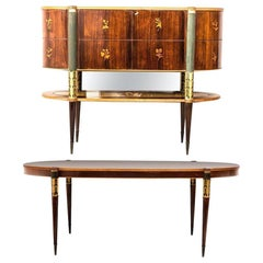 Midcentury Italian Dining Room Set with Table and Bar Cabinet, 1940
