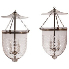 Pair of Bell Jar Lanterns with Diamond Etching