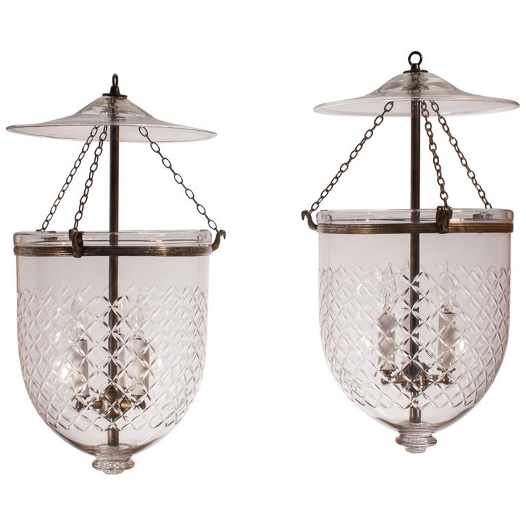 Pair of Bell Jar Lanterns with Diamond Etching For Sale