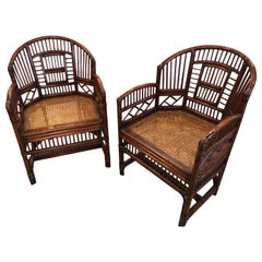 Vintage Pair of Brighton Style Bamboo and Rattan Chinese Chippendale Arm Chairs