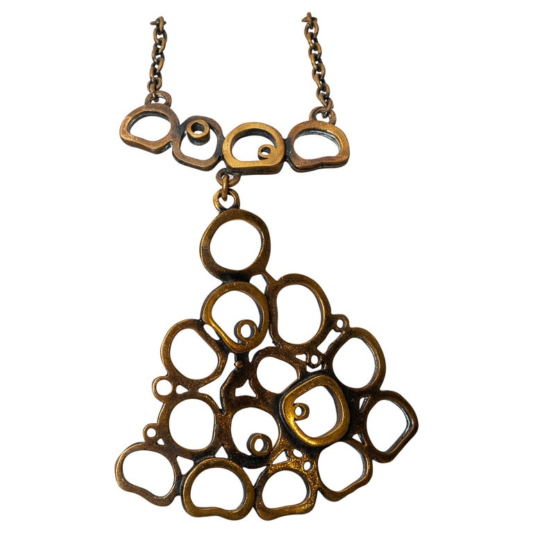 20th Century Modern Pentii Sarpaneva Pendant Necklace Bronze Scandinavian Modern For Sale