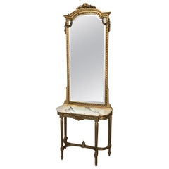 19th Century French Louis XVI Marble-Top Giltwood Console with Mirror