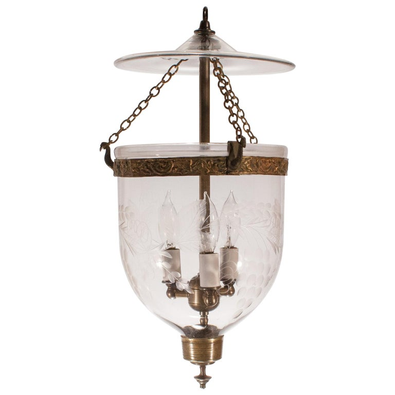 Petite Bell Jar Lantern with Grape Leaf Etching For Sale
