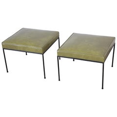 Paul McCobb Upholstered Iron Stools or Ottomans, Pair