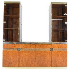 Pierre Cardin Signed Burl Wood Sideboard with Two Tower Cabinets, France, 1970s