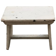 Hungarian Milking Stool Retaining The Original White Paint