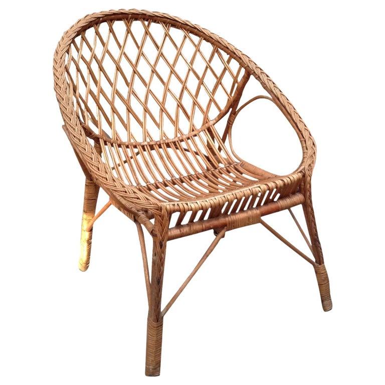 Vintage European Rattan Chair For Sale