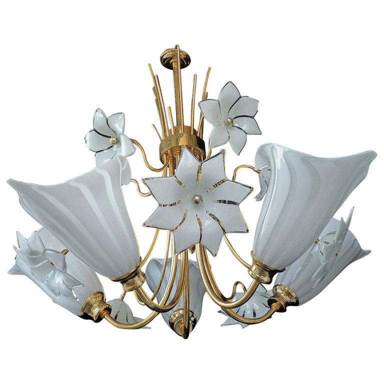 Large Murano Calla Lily & Flower Chandelier by Franco Luce, Art Glass Gilt Brass For Sale
