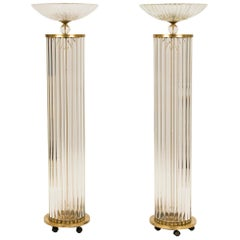 Pair of Art Deco Murano Glass Torchieres