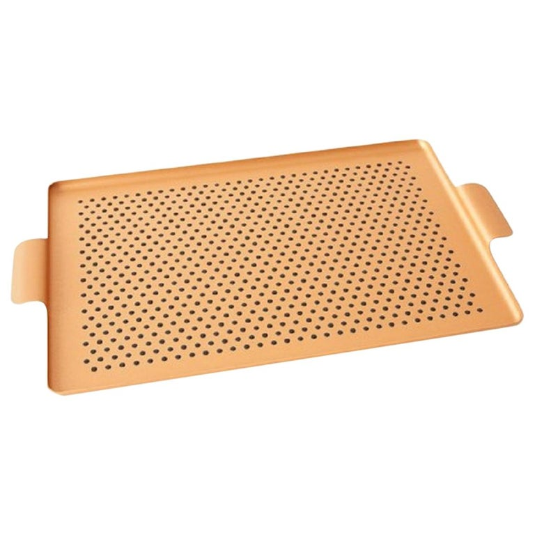 Kaymet - Serving Tray, Blush Gold Anodized Aluminum, Silicone Rubber Grip For Sale