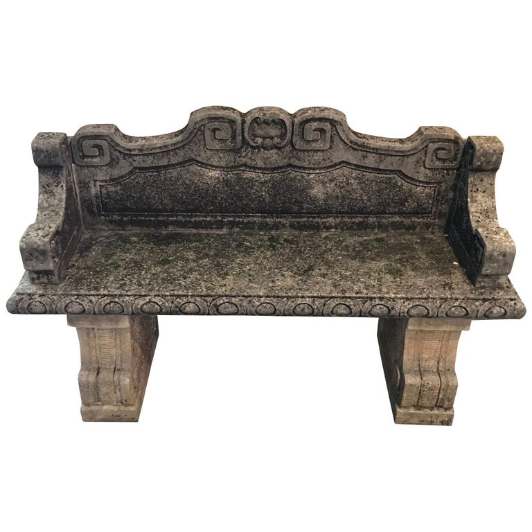 Vicenza Stone Bench with Back, Italy, 1920s For Sale