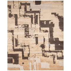 Contemporary Art Deco Yellow and Black Wool Rug with Geometric Field