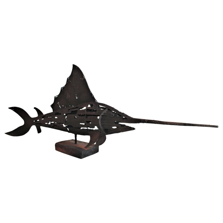 1930s Swordfish Folk Art Sculpture For Sale