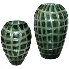 Large Pair of Murano Battuto Glass Vases