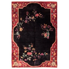 Chinese Red and Black Wool Rug with Art Deco Floral Patterns