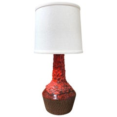1970s Red Danish Table Lamp