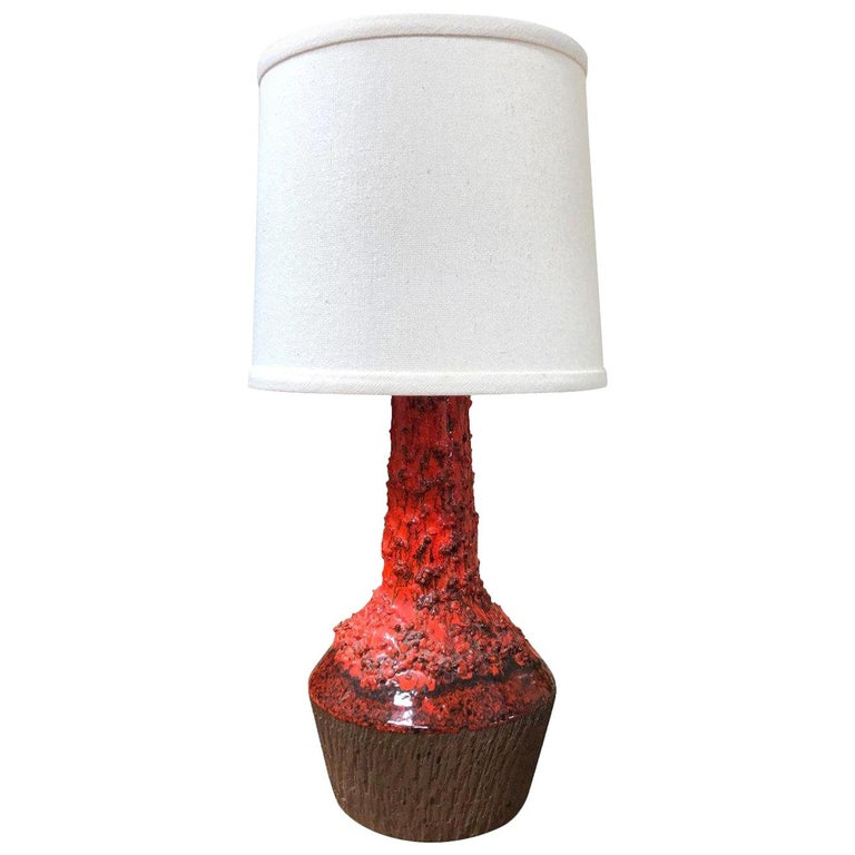 1970s Red Danish Table Lamp For Sale