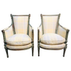 Pair of 18th Century French Directoire' Carved and Painted Bergeres