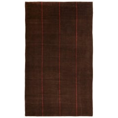 Contemporary Geometric Red Line Brown Wool Rug