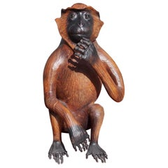 American Art Deco Life-Size Leather Monkey with Green Glass Eyes, 20th Century