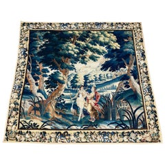 Substantial Antique Flemish Verdue Tapestry Featuring Figures and Castle