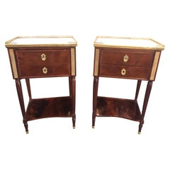Pair of 19th Century French Directoire' Mahogany Side Tables