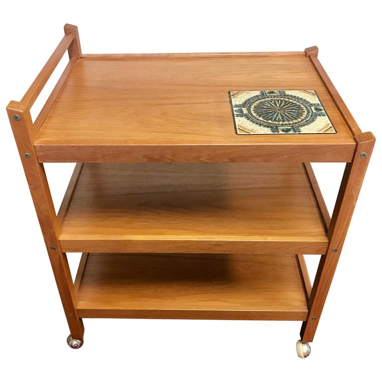 Danish Modern Teak Rolling Bar Cart Tea Trolley Cart Caddy with Tile Insert Top For Sale