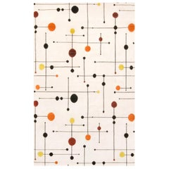 Mid-Century Modern Geometric White and Multi-Color Wool Rug