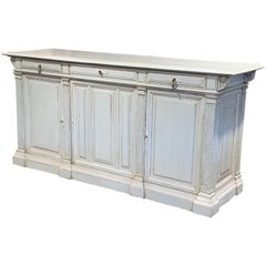 19th Century French Louis Philippe Carved Painted Three-Door Buffet