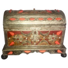 Vintage Moroccan Storage Chest, Carved Bone, Silver Repousse, Tuareg Leather