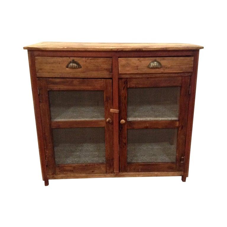 Antique Pine Mesh Cabinet For Sale