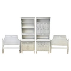 Swedish Style Powder Blue Grey Bedroom Set, Bookcases, Chests, Twin Headboards
